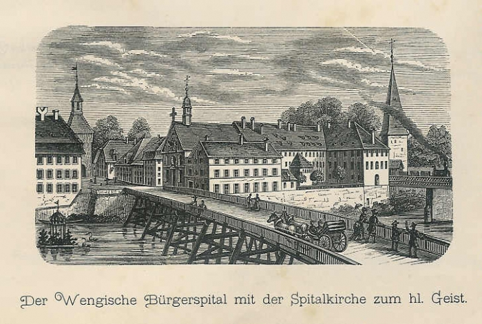 <p>319 Der Wengische Bürgerspital mit Spitalkirche und Krummturm links hinten Berntor , Mitte Spitalkirche zum hl. Geist Altes Spital , Wengibrücke mit Fuhrwerk ,</p>