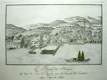 <p>396Le Bourg de Horgen. au bord du Lac de Zurich avec ses Environs vers L'occident dessine d'apres la Nature</p>