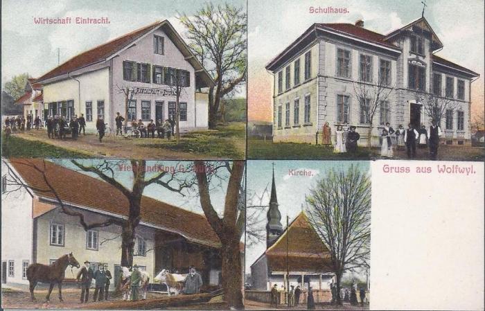<p>Wirtschaft Eintracht , Schulhaus , Viehhandlung G. Nützi, Kirche , Karte ungelaufen, Top Zustand , 2x</p>