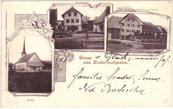 <p>gelaufen 1.1.1901 , Kirche , Dorfstrasse , Gasthof Sonne ,Karte Top Zustand</p>