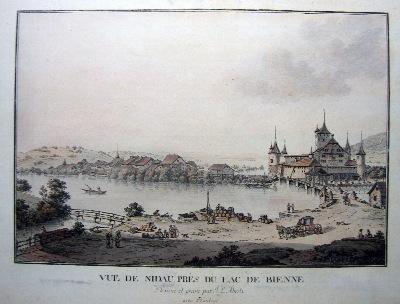 <p>498&nbsp; Vue de Nidau, pr&egrave;s du lac de Bienne.</p> <p>Selten &nbsp;Fr. 1500.-</p>