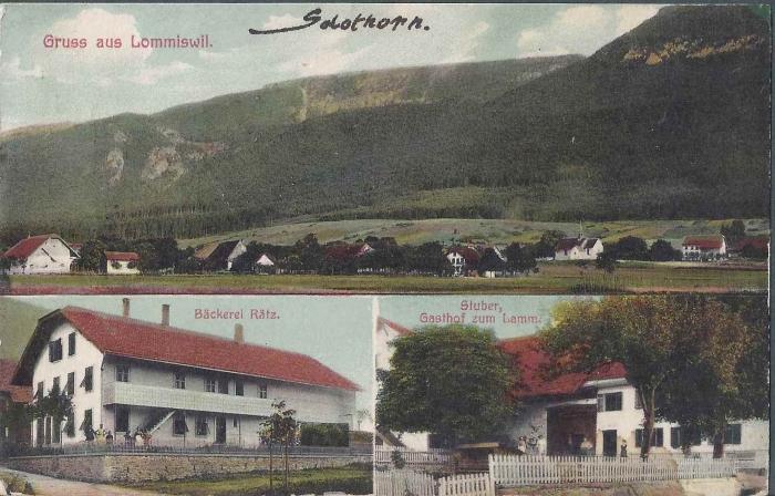 <p>Gruss aus Lommiswil , Bäckerei Rätz , Stuber Gasthof zum Lamm , Karte Top Zustand</p>