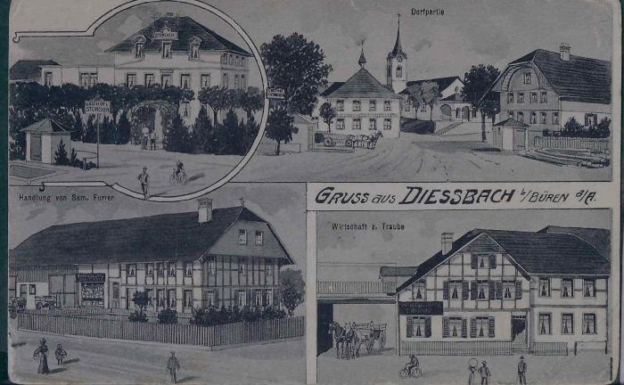 <p>Dorfpartie , Handlung Fam. Furrer , Wirtschaft zur Traube , Karte Top Zustand , 11.10.1910</p>