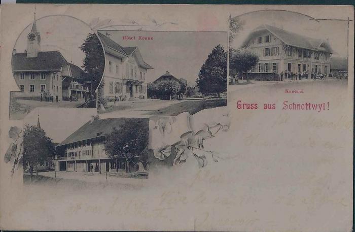 <p>Gruss aus Schnottwil : Kirche , Hotel Krone , K&auml;serei , Mitte unten leichter Einriss , 15.3.1901</p>